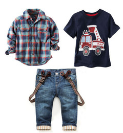 Ensemble De Vêtements Pour Enfants Pas Cher-2016 Ensembles de vêtements pour enfants pour le printemps Costume bébé costume manches longues chemises à carreaux + voiture d'impression t-shirt + jeans 3pcs costume ensemble F1802