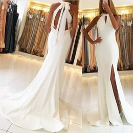 Élégante Robe De Soirée Sans Dossier Pas Cher-Pure White Elegant Halter Mermaid Robes de bal 2018 Sexy Backless Floor Length Split Evening Robes Celebrity Formal Robe de soriee