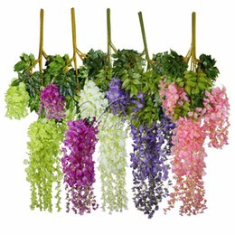 $enCountryForm.capitalKeyWord Canada - 12pcs 105cm Artificial Silk Wisteria Hanging Plants For Wedding Party Home Garden Decor Decorative Hanging Flowers Wholesales