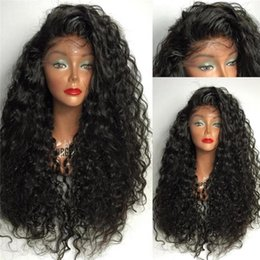 Dark Black Small Curly Long Hair Canada - Unprocessed Peruvian Hair Curly Lace Front Wig Natural Curly Human Hair Full Lace Wig Long Curly Hair For Black Women