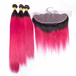 red black human hair Canada - Red Brazilian Virgin Human Hair Ear to Ear 13*4 Lace Frontal with 3Pcs straight Red Hair Bundles for Black Women