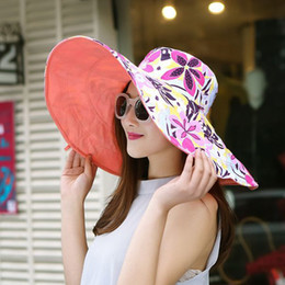 Discount hats for big heads - Wholesale- 2016 Summer large brim beach sun hats for women UV protection women caps hat with big head foldable style fas