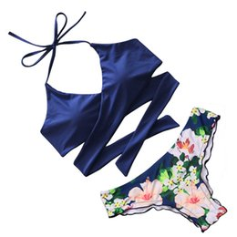 cross wrap swimsuit 2019 - Criss Cross Bikini 2017 Bandage Brazilian Swimsuit Women Padded Swimwear Bikini Set Wrap Top Bathing Suits Biquini