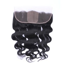 silk base frontals UK - Silk Top 4x4'' Body Wave Ear To Ear Full Lace Frontals With Baby Hair Silk Base Lace Frontal Closure Bleached Knot