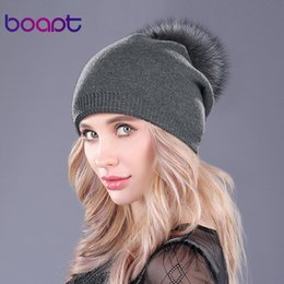 $enCountryForm.capitalKeyWord NZ - [Boapt ]Natural Raccoon Fur Pompon Hat Thick Winter For Women Cap Beanie Hats Knitted Cashmere Wool Caps Female Skullies Beanies