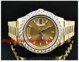 Discount solid gold wristwatch - Luxury Watch High Quality Man Watch New Mens 2 II Solid 18kt 41MM Diamond Watch Gold Dial 8 Ct Automatic Movement Men&#0