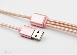 $enCountryForm.capitalKeyWord Canada - 3 in 1 Type-C Nylon ROSE GOLD Braided Aluminum USB Cable Fast Charger Cable Data Sync for one plus samsung S6