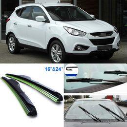 "$enCountryForm.capitalKeyWord Canada - 2pcs 24""+16"" front windscreen windshield wiper blades Soft Rubber WindShield Wiper Blade For Hyundai ix35 Free Shipping"