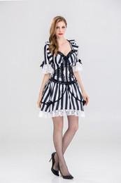 $enCountryForm.capitalKeyWord Australia - Women Vampire Zombie Dress Halloween Sexy Spanish Ghost Cosplay Dress Black White Stripes Fancy Gothic Costume