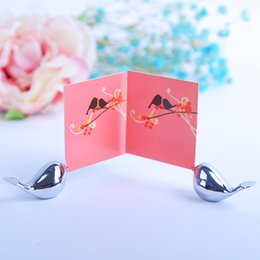 Cute photo gifts online shopping - Card Photo Rack Cute Love Birds Wedding Seat Clip Stainless Steel Table Decor Creative Gift Party Supplies xd F R
