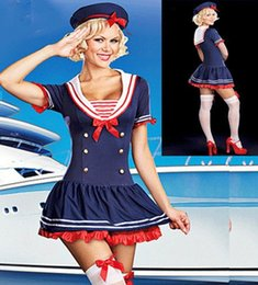 Tenue De Marin Halloween Pas Cher-Grossiste-Mesdames Bonjour Mlle Sailor Sea Fancy Dress Costume Outfit Sexy Mode Role Play Costume Femme Costume Halloween W438049