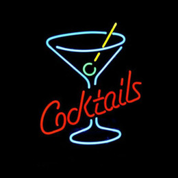 Cocktail Light Sign Canada - Cocktails Martini Glass LOGO BEER BAR REAL Real Glass Neon Light Sign Home Beer Bar Pub Recreation Room Game Room Windows signs