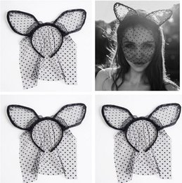 Small veilS online shopping - Hot sale party cat hair hoop black white lace small point cat ear hair hoop sexy veil Halloween headbands