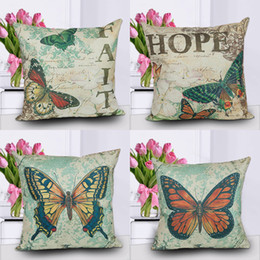 $enCountryForm.capitalKeyWord Canada - COTTON And LINEN Material Pillow Cases Good Quality Dakimakura Butterfly Print Couch pillow Cushion Covers Naps Pillow Cases
