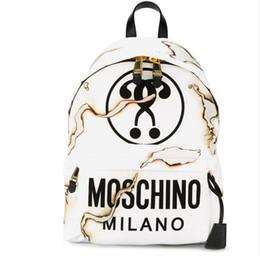 Backpack White Canada - High Quality Women Fashion bags Hot White smoke seal burned series design printed canvas backpack hip hop Black White Orange bags