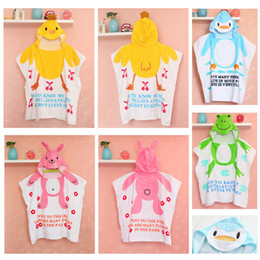 pink robes wholesale Canada - Nissen Summe Baby Shower Robe Hooded Bathrobe Thin Style Robes Baby Bath Towel Robe Kids Cartoon Animals Bath Towels Sleeping Quilt