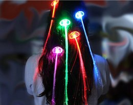 Extension Toys Canada - 200pcs Luminous Light Up LED Hair Extension Flash Braid Party girl Hair Glow by fiber optic For Party Christmas Halloween Night D