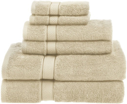 China 725 Gram 100 % Egyptian Cotton 6 Piece Cream Bath Hand Washcloths Towel Set suppliers
