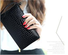 $enCountryForm.capitalKeyWord NZ - Women Lady PU Leather Clutch Purse Bag Satchel Handbag Crocodile Print Evening Bag Day Clutches Walletbag Fashion Handags Black