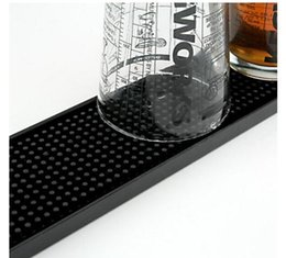Pvc Bar Table Canada - Wholesale- 23inch Rectangle Rubber Beer Bar Service Spill Mat for table black waterproof pvc mat kitchen glass coaster placemat free ship