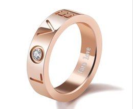 18k korean jewelry sets UK - Korean version of titanium steel jewelry rose gold ring diamond ladies ring personalized LOVA ring to his girlfriend