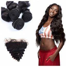 virgin malaysian hair closure loose wave 2019 - 13*4 Full Frontal Lace Closure With 3pcs Human Hair Bundles Unprocessed Virgin Malaysian Loose Wave Hair Weaves 8-30inch