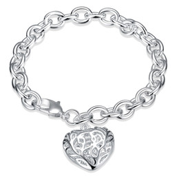 Red Heart-shaped Pendant Bracelet.charming Lady Jewelry.a Birthday Present Big Clearance Sale Jewelry & Accessories Hot Sale Fashion Silver Women Bracelet.solid 925 Silver Bangles