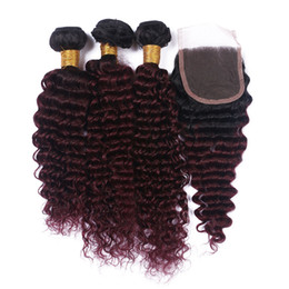 dark roots burgundy brazilian hair UK - Dark Roots Brazilian Deep Wave Hair Bundles With Lace Closure Ombre Color Burgundy 1B 99J Hair Extensions With Lace Closure 4Pcs Lot