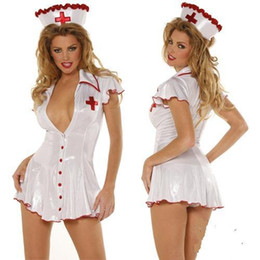 Barato Uniformes Jogo De Lingerie Sexy-New Arrival Women Sexy White Angel Enfermeira Lingerie Bodysuit Erotic Hospital Office Game Uniform Tentação Cosplay Fetish Slips