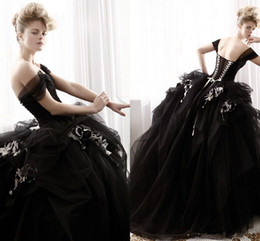 Gothic flowers online shopping - New Vintage Black Gothic Halloween Wedding Dresses Ball Gown Off Shoulder Flowers Tulle Floor Length Bridal Gowns Custom Made W498