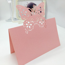 laser cut birthday cards 2018 - 200pcs Laser Cut Hollow Butterfly Flower Paper Table Card Number Name Place Card For Party Wedding Decorate Customizatio
