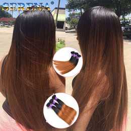 Discount new roots hair extensions New arrival dark root color 1b 30# honey blonde ombre straight hair extensions virgin brazilian two tone human hair weaving weft Ombre Weave