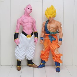 Goku Saiyan Kid Action Figure Canada - Dragon Ball Z Son Goku Action Figure Super Saiyan Buu Plastic Collection Model Kids Toy Christmas Gift 44cm