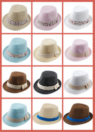 Baby Boys Straw Hats Canada - 10%off Kids Straw Fedora Hat Baby Summer Straw lace Broken beautiful side Hat Boys Girls Jazz cap Straw Fedoras Baby Strawhat 100pcs lot