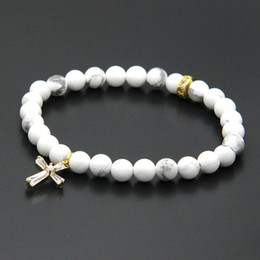 Barato Mármores Claros Atacado-Páscoa Atacado 10pcs / lot 6 milímetros Natural White Howlite Mármore Pedra Beads com micro Paved Clear Zircons Spacer Cz Beads Cross Bracelets