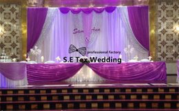 purple white backdrop NZ - White And Purple 3m*6m Ice Silk Wedding Backdrop Curtain \ Stage Background Free Shipping