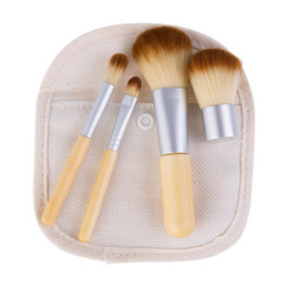 Chinese  Professional Makeup Brushes Kits Bamboo Brush Sets 4 Pcs Make Up Cosmetics Foundation Powder Concealer Beauty Tools Cheap Price manufacturers