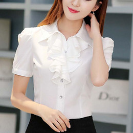 Blouses À Manches Courtes Pas Cher-Women Ruffle Shirt Bureau Ladies Fashion Lapel Neck Short Puff Sleeve White Tops Work Wear Plus Size S-3XL Double Ruffles Chiffon Blouse