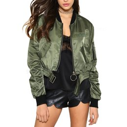 Barato Casaco Verde Do Exército Feminino-Atacado- Womens Spring Bomber Short Jacket 2017 Fashion Army Green Black Casacos básicos Punk Cropped Women Jackets Personality Double Zipper