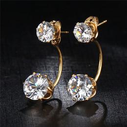 Vintage Diamond Stud Earrings NZ - Boho Vintage Tibetan Double Side Crystal Stud Earrings For Women Fashion Gold Color Ball Party Wedding Jewelry Dropship