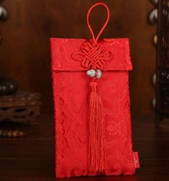 Chinese  10.5x17.5cm lucky money bag wedding red envelope bag red in cloth kraft envelope manufacturers