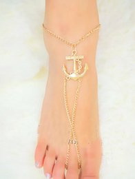 $enCountryForm.capitalKeyWord Canada - Fashion Anchor Double Zipper Anklet Foot Bracelets Barefoot Sandals For Women Sexy Tin Chain Beach Free Shipping Ankle Bells Jewelry