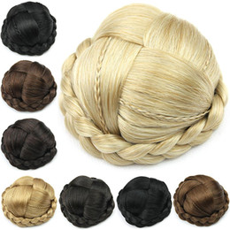 Rollers Chignon Canada - Wholesale-Small Size, cute Knitted Hair Chignon, Donut Roller Hairpieces, Synthetic Hair, free shipping