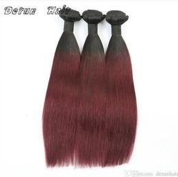 Brazilian Straight Human Hair Bundles UK - Virgin Ombre Hair Two Tone Color 1B 99J Straight Human Hair Weaves Brazilian Peruvuan Malaysian Indian Virgin Human Hair 3 Bundles lot