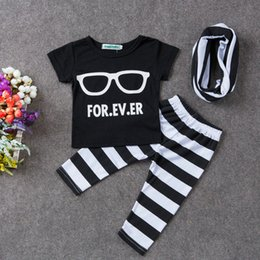 Barato Camisas Por Atacado Do Pescoço Do Colarinho-Atacado 3 pcs / set Algodão Outono Primavera Baby Clothes Sets Cute Suits Óculos Print T-shirt Striped Pants Suit and Collar