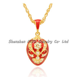 Chinese  Fashion women jewelry high quality necklace color enameled handmade fish scales design Russian style Faberge egg pendants for ladies manufacturers
