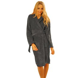 46f2f711acfc Wholesale- 2016 Women Shawl Collar Bathrobe Spa Robes Coral Fleece Long  Night-robe Sleepwear