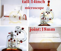 Wholesale glass factorys matrix color top quality microscope Glass Bong form quot inches Glass water pipes bongs with rocket perc and UFO perc mm j