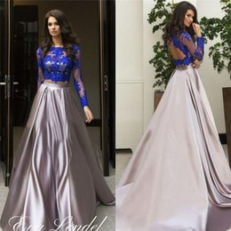 long sleeve stretching dress NZ - Charming 2020 Two Pieces Evening Dresses Long Sleeves Illusion Blue Crop Top Stretch Satin A Line Silver Skirt Formal Gowns Custom Size