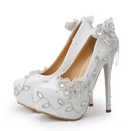 sparkle rhinestone UK - Sparkling Butterfly Wedding Shoes Crystal Bride Dress Shoes Elegant Women Dress Pumps Graduation Party Prom Shoes Platform Pump